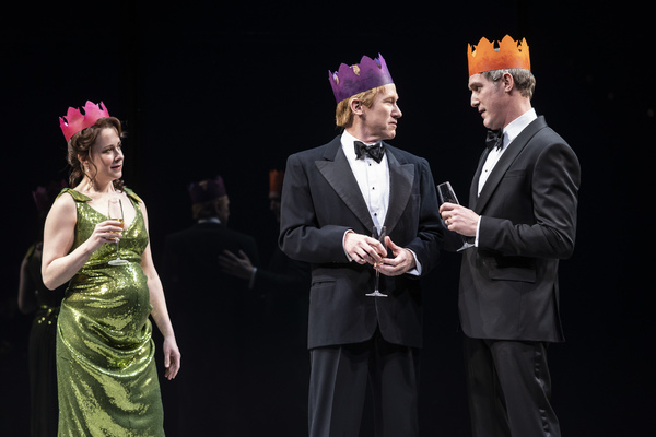 Kate Fry (Hermione), Dan Donohue (Leontes) and Nathan Hosner (Polixenes)