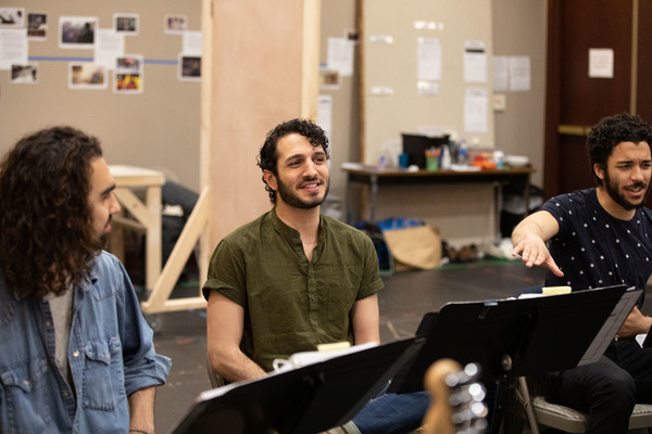 Sharif Afifi, Waseem Alzer, and Jakeim Hart in rehearsal for We Live in Cairo.
