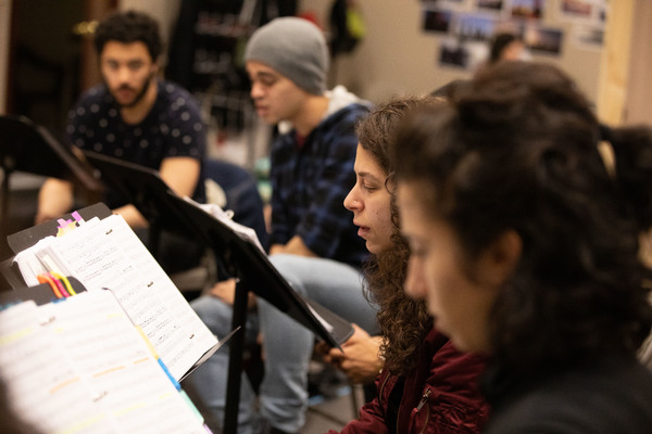 Jakeim Hart, Abubakr Ali, Dana Saleh Omar, and Layan Elwazani in rehearsal for We Liv Photo