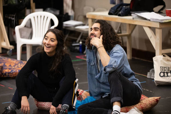 Parisa Shahmir and Sharif Afifi in rehearsal for We Live in Cairo.