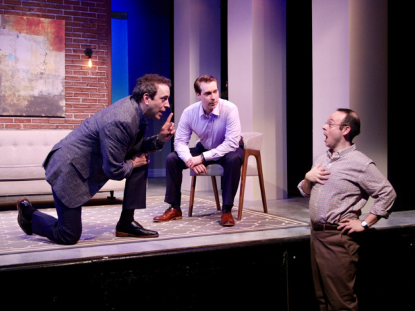 Josh Powell (left, Serge), Brian Sgambati (center, Marc) and Jonathan Spivey (right, Yvan) star in ART, Yasmina Reza''s international hit play, which opens Penguin Rep Theatre''s 2019 season May 17 thro