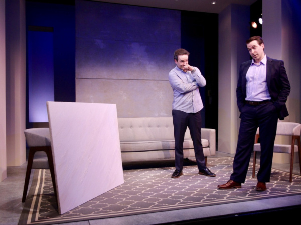 Josh Powell (left, Serge) and Brian Sgambati (Marc) star in ART, Yasmina Reza''s international hit play, which opens Penguin Rep Theatre''s 2019 season May 17 through June 9. For more information, visit