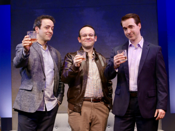 Josh Powell (left, Serge), Jonathan Spivey (center, Yvan) and Brian Sgambati (right, Marc) star in ART, Yasmina Reza''s international hit play, which opens Penguin Rep Theatre''s 2019 season May 17 thro