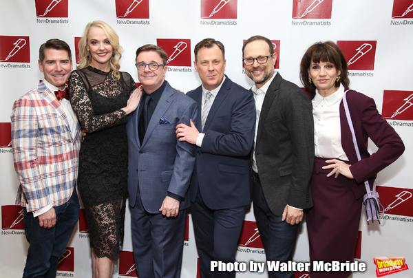 Chad Beguelin, Angie Schworer, Nathan Lane, Brooks Ashmanskas, Matthew Sklar and Beth Leavel attends The New Dramatists 70th Annual Spring Luncheon honoring Nathan Lane at Marriott Marquis on May 14, 2019  in New York City.