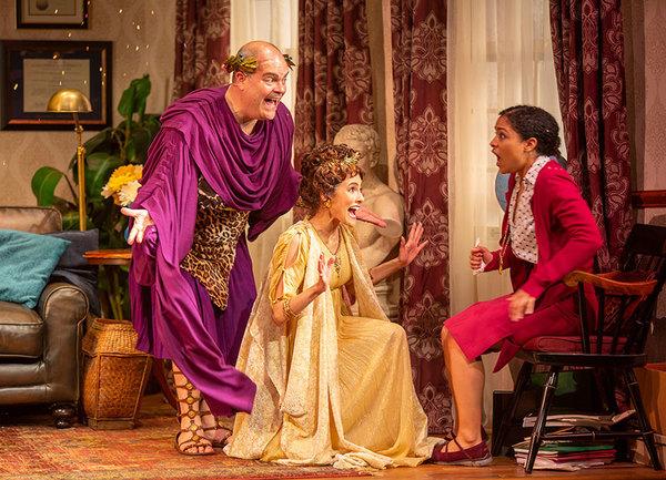 Brad Oscar as Dionysus, Jessie Cannizzaro as Thalia, and Shay Vawn as Daphne
