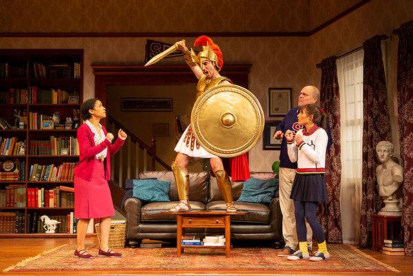 Shay Vawn as Daphne, George Psomas, Brad Oscar as Dionysus, and Jessie Cannizzaro