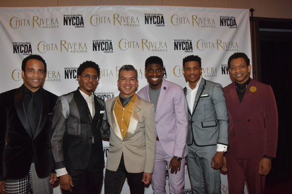 Sergio Trujillo and the Cast of Aint Too Proud to Beg that includes-James Harkness, Ephram Sykes, Japan M. Jackson, Jerome Pope and Derrick Baskin
