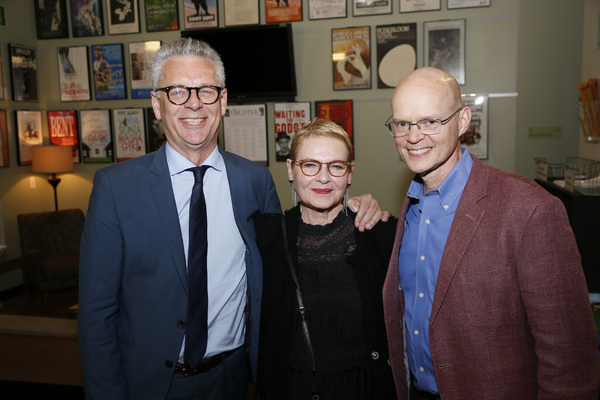 """From left, Center Theatre Group Artistic Director Michael Ritchie, cast member Dianne Wiest and director James Bundy backstage after the opening night performance of �""""Happy Days"""" at Center Theatre Group/Mark Taper Forum on May 22, 2019, in Los Angeles"""