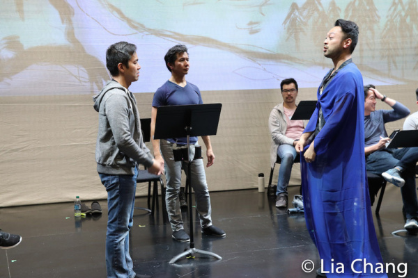 Steven Eng, Eric Bondoc and choreographer Billy Bustamante in rehearsal