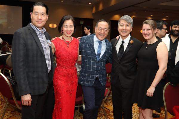 Darren Lee, Lia Chang, Alan Muraoka, Jason Ma and Kristen Rosenfeld attend the 2019 CRWDA Awards Gala at the Marriott Downtown City Creek Hotel in Salt Lake City on May 11, 2019.