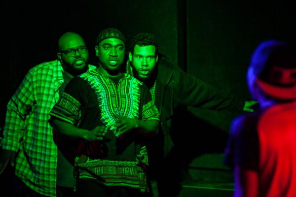 Jonathan Jones as Grif, Dez Walker as Issa, Dan Johnson as Daz, and Miles Bond as Tin Photo
