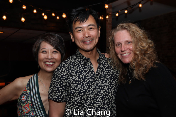 Playwright Jeanne Sakata, Joel de la Fuente and Production Stage Manager Mary K. Botosan