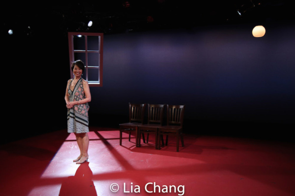 Playwright Jeanne Sakata on the set of HOLD THESE TRUTHS, designed by Mikiko Suzuki MacAdams