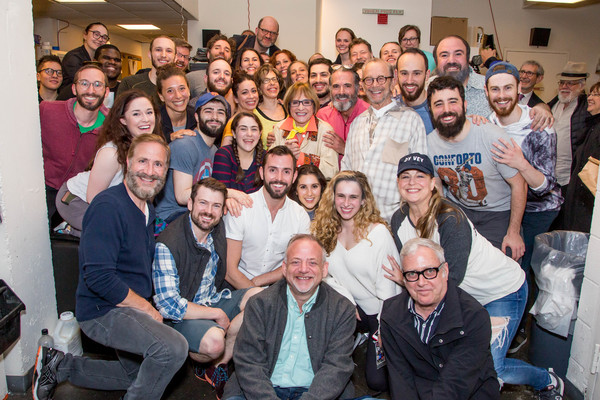 Patti LuPone, Marc Shaiman, Scott Wittman, Joel Grey, and the company of Fiddler on the Roof in Yiddish