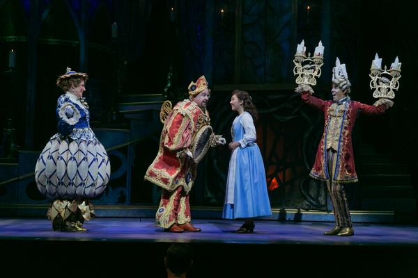 Stacia Fernandez (Mrs. Potts), Kevin Ligon (Cogsworth), Belinda Allyn (Belle), and Ga Photo