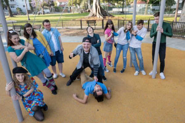 Cast of The Bully Problem: (L to R: Tianna Cohen, Malissa Marlow, Hallie Mayer, Andrew Landecker, James Everts, Josh Hillinger, Socks Whitmore, Allie Costa, Jayna Sweet, Clint Blakely, Frankie Zablika