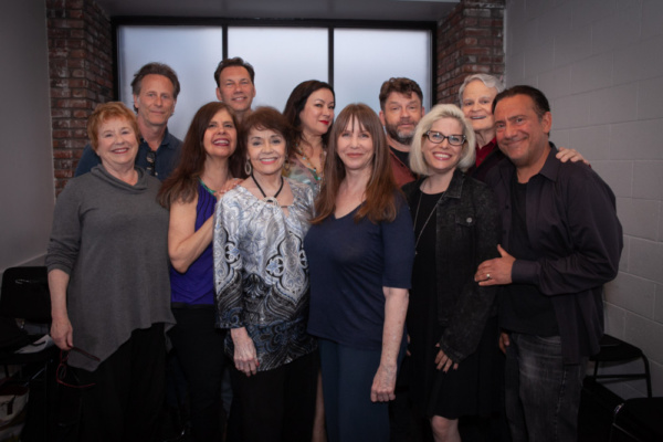 The Pack at Gary Austin Stage at The Groundlings Theatre in Hollywood.  Photo 1: Lynne Stewart (l.), Steven Weber, Brian Palermo, Dayle Reyfel, Marcia Rodd, Jennifer Tilly, Laraine Newman, Dan O''Conno