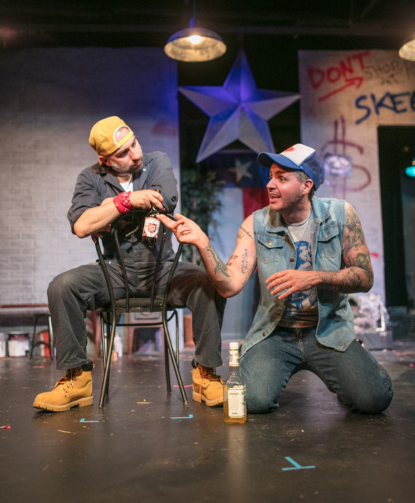 Photo by Joe Battista  Chris Loupos(left) and Matt de Rogatis (right)  in a scene from Lone Star at the 13th Street Repertory Theatre.