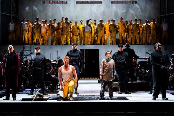 The cast, orchestra, Music Director Jaap van Zweden, and Men of the Concert  Photo