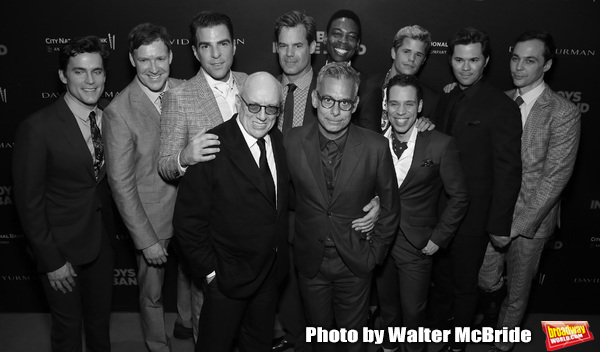 Matt Bomer, Brian Hutchison, Zachary Quinto, Mart Crowley, Joe Mantello, Tuc Watkins, Michael Benjamin Washington, Charlie Carver, Robin de Jesus, Andrew Rannells and Jim Parsons attends the 'The Boys In The Band' 50th Anniversary Celebration at The Secon