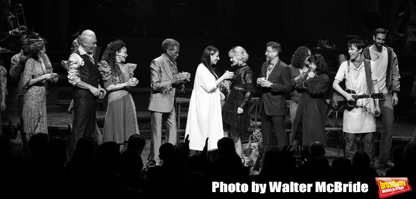Patrick Page, Amber Gray, Andre De Shields, Rachel Clavkin, Anais Mitchell, David Neumann, Eva Noblezada, Reeve Carney and Timothy Hughes with cast during Broadway Opening Night Performance Curtain Call for 'Hadestown' at the Walter Kerr Theatre on April