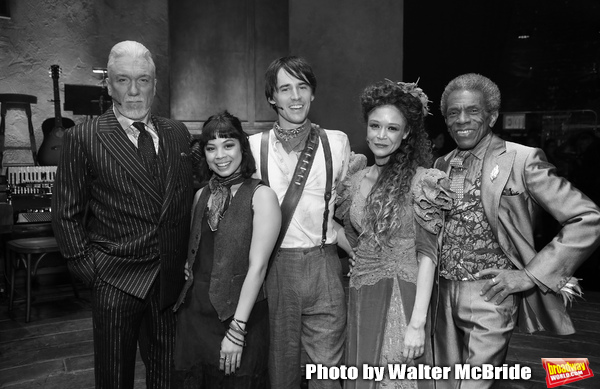 "Patrick Page, Eva Noblezada, Reeve Carney, Amber Gray and Andre de Shields during the Broadway Press Performance Preview of ""Hadestown""  at the Walter Kerr Theatre on March 18, 2019 in New York City."