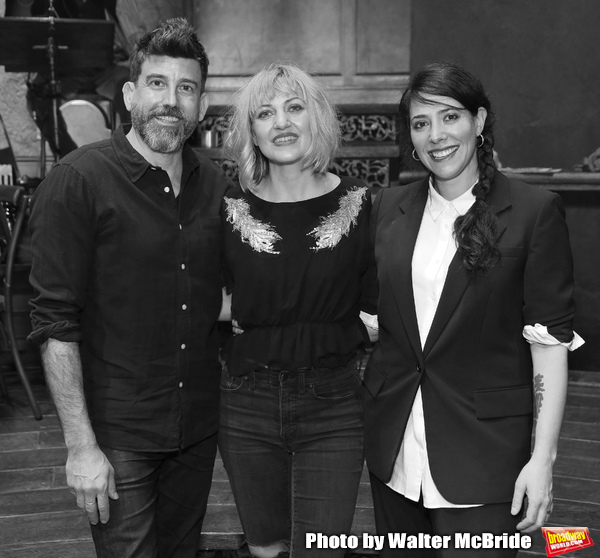"Choreographer David Neumann, Composer and author Anais Mitchell and director Rachel Chavkin during the Broadway Press Performance Preview of ""Hadestown""  at the Walter Kerr Theatre on March 18, 2019 in New York City."