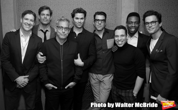 Brian Hutchison, Tuc Watkins, Joe Mantello, Andrew Rannells, Zachary Quinto, Robin De Jesus, Michael Benjamin Washington and Matt Bomer attend Broadway's 'Boys in the Band' hosted Midnight Performance of 'Three Tall Women' to Honor Director Joe Mantello a