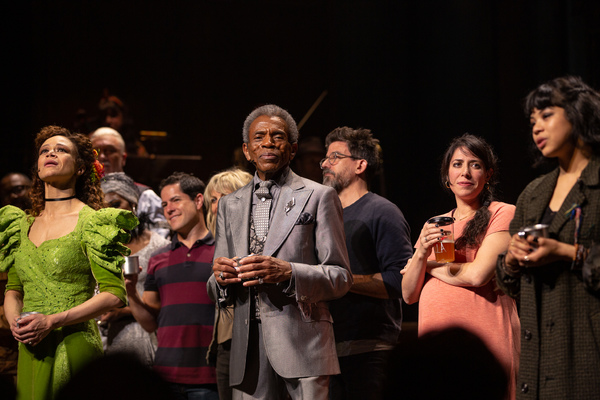Amber Gray, Andre De Shields, Rachel Chavkin, and the Cast of HADESTOWN