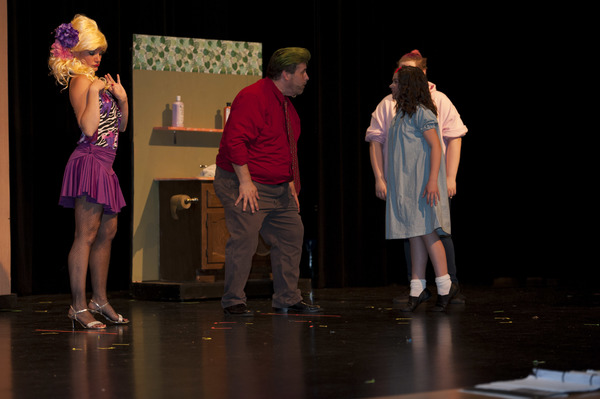 Green Hair Marianne Lossing (Mrs. Wormwood,) Phil Smith (Mr. Wormwood,) Madison Donegan (Michael) & Abigail Patterson (Matilda) of the Thu/Sat Cast Photo Credit: Kathleen Heberling