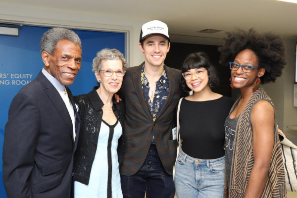 2019 Richard Seff Award winner and 2019 Tony Award winner Andre De Shields, Judith Rice, Reeve Carney, Eva Noblezada and Kimberly Marable