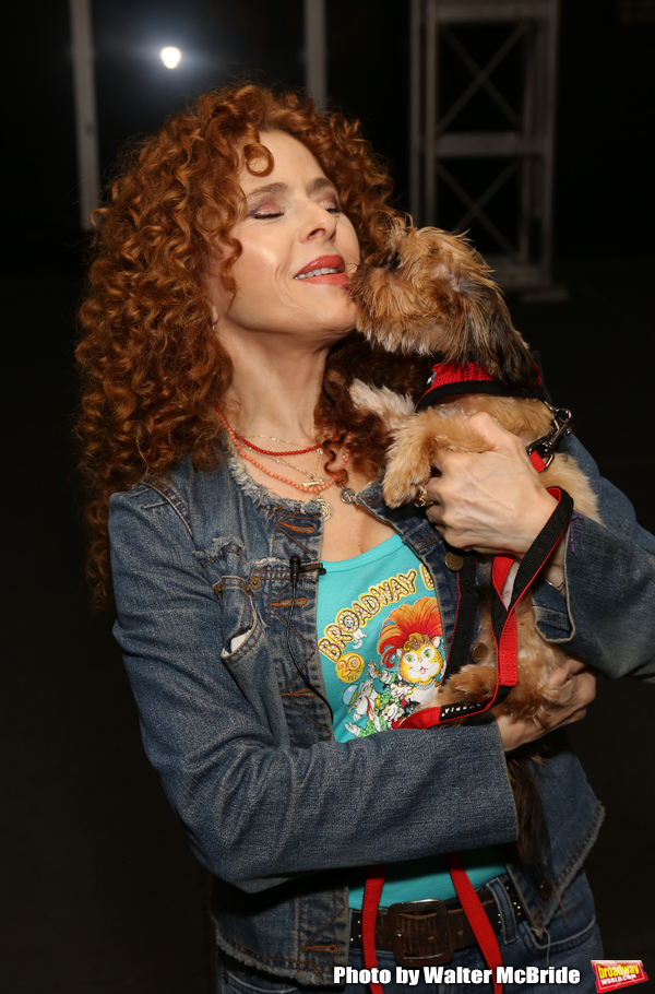 Bernadette Peters with a dog from The Humane Society of New York