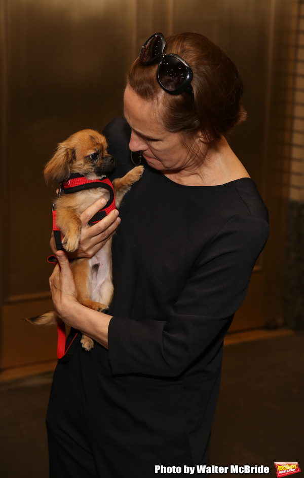 Laurie Metcalf with a dog from The Humane Society of New York