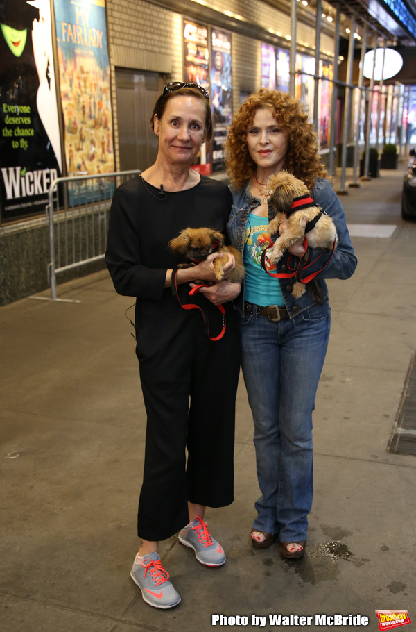 Laurie Metcalf and Bernadette Peters with dogs from The Humane Society of New York