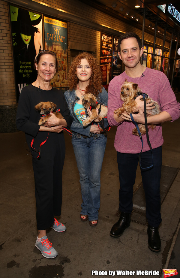 Laurie Metcalf, Bernadette Peters and Santino Fontana with dogs from The Humane Society of New York