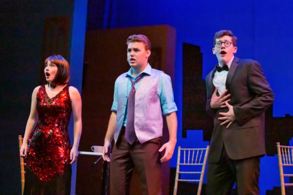 Cynthia Kauffman (Millie Dillmount), Nate Schlabach (Trevor Grayden), and Jack Ducat (Jimmy Smith)