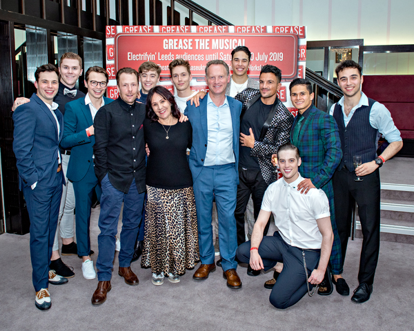 Peter Andre and the male cast of Grease, with Nikolai Foster, Arlene Philips, and Col Photo