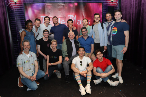 Seated: Patrick Breen, Joey Odom, Tyler Osgood, Ted Snowden, Playwright Jonathan Tolins, Daniel K. Isaac and Taylor Trensch. Standing: Pascale Armand, Festival Director Nick Mayo, Festival Producer Mi