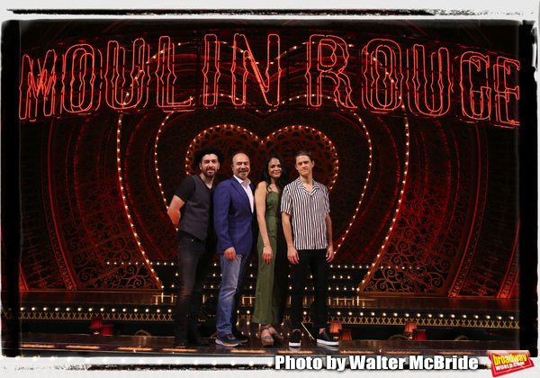 """Tam Mutu, Danny Burstein, Karen Olivo and Aaron Tveit from �Moulin Rouge!"""" The Broadway Musical at the Al Hirschfeld Theatre on July 9, 2019 in New York City."""