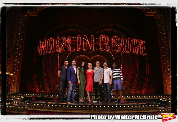 """Tam Mutu, Danny Burstein, Karen Olivo, Robyn Hurder, Aaron Tveit, Ricky Rojas, and Sahr Ngaujah  from �Moulin Rouge!"""" The Broadway Musical at the Al Hirschfeld Theatre on July 9, 2019 in New York City."""