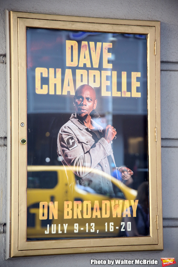 """Theatre Marquee unveiling for """"Dave Chappelle on Broadway"""" at the Lunt-Fontanne on July 9, 2019 in New York City."""