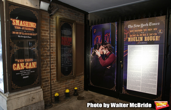 """Theatre Marquee with Karen Olivo and Aaron Tveit  for """"Moulin Rouge!"""""""