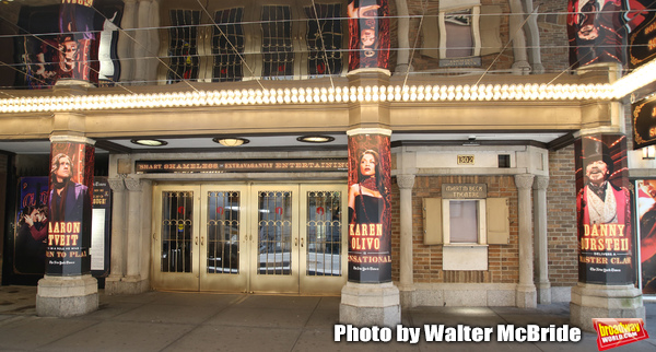 """Theatre Marquee with aaron Tveil, Karen Olivo and Danny Burstein for """"Moulin Rouge!"""""""
