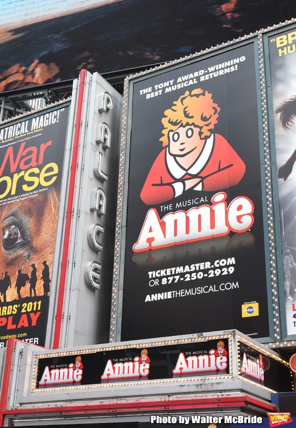 Theatre Marquee unveiled for 'Annie' - with Music by Charles Strouse, Lyrics by Marti Photo