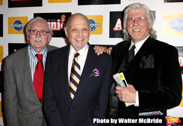 Thomas Meehan, Charles Strouse, Martin Charnin attending the Broadway Opening Night P Photo