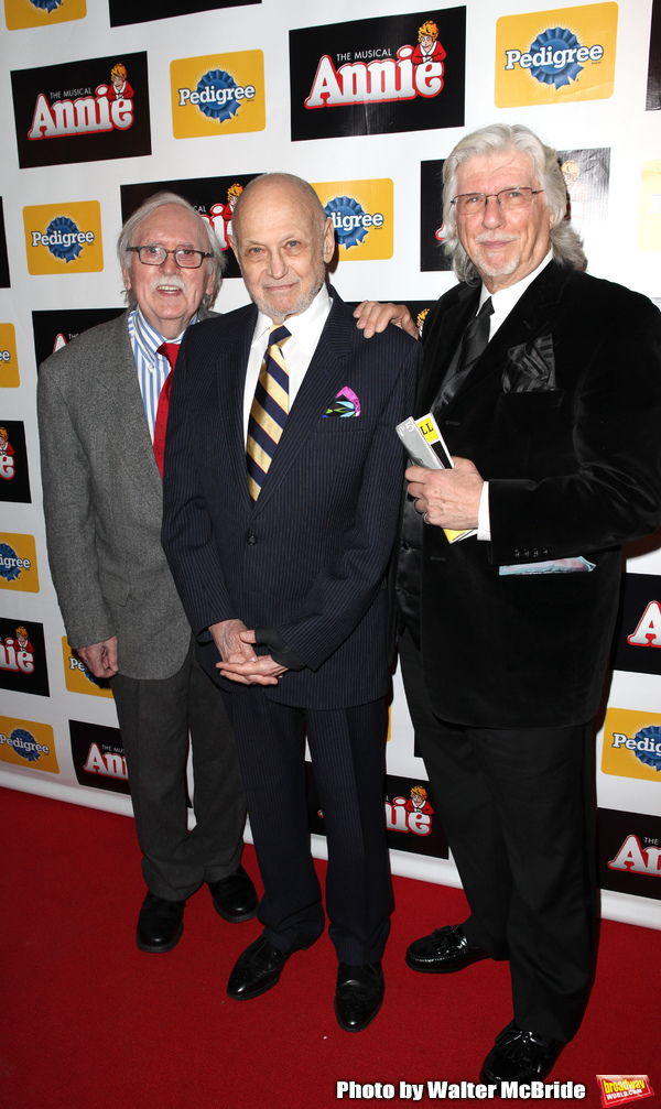 People: Charles Strouse, Thomas Meehan, Martin Charnin attending the Broadway Opening Photo