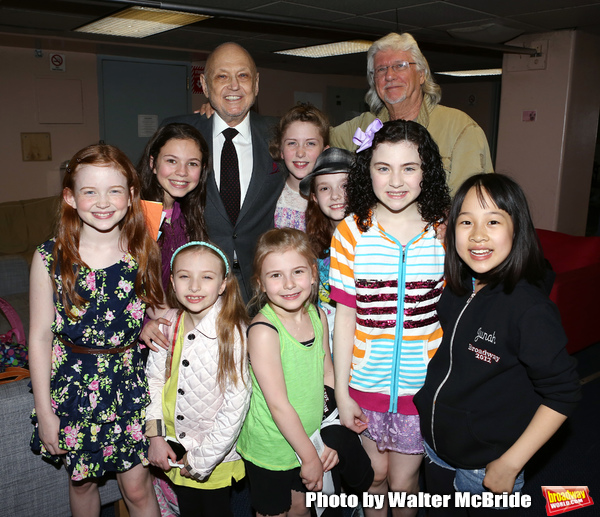 Charles Strouse, Martin Charnin, Lilla Crawford & the young cast members from Broadway's iconic musical ANNIE celebrate creator Charles Strouse's 85th Birthday at The Palace Theatre in New York City on June 06, 2013.