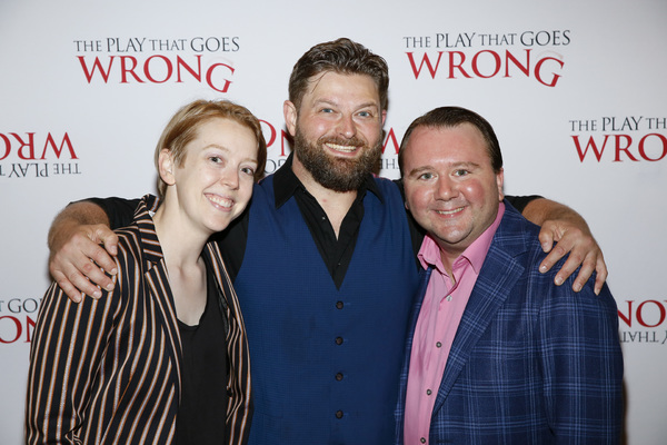 "From left, company member Blair Baker and cast members Brandon J. Ellis and Scott Cote at the party for the opening night performance of ""The Play That Goes Wrong� at Center Theatre Group/Ahmanson Theatre on July 10, 2019, in Los Angeles, California. (Photo by Ryan Miller/Capture Imaging)"