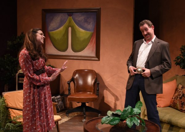 Prudence (Devi Reisenfeld) discusses her therapy options with her therapist, Stuart (Joe McCauley), in Eclipse Theatre''s production of ?Beyond Therapy? by Christopher Durang, directed by Rachel Lambe