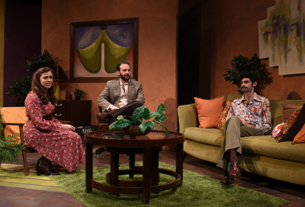 Prudence (Devi Reisenfeld), Bruce (Nick Freed) and Bob (Siddhartha Rajan) share an uncomfortable moment together in Eclipse Theatre''s production of ?Beyond Therapy? by Christopher Durang, directed by